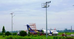 Airlines parking at taxiway