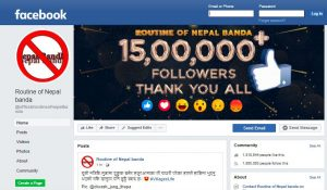 Routine of Nepal Banda Facebook Page: