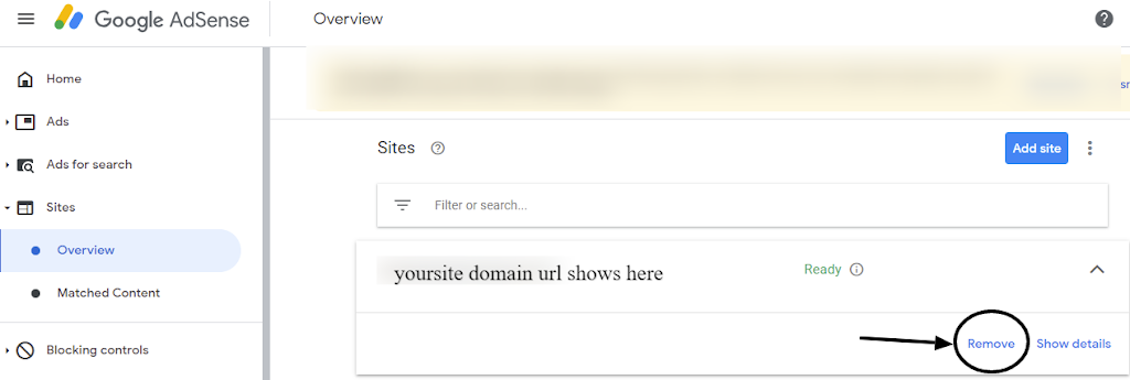 website removal process from google adsense