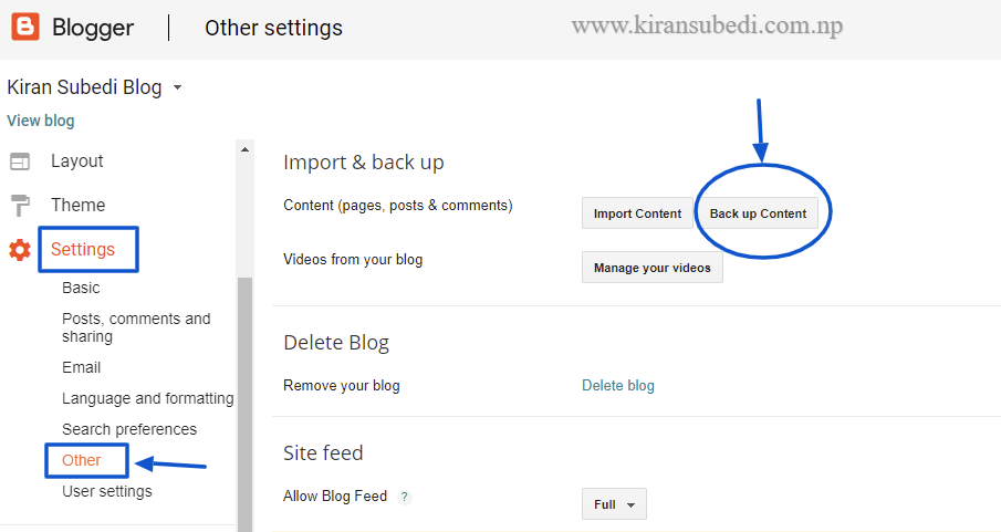 How to backup on blogger