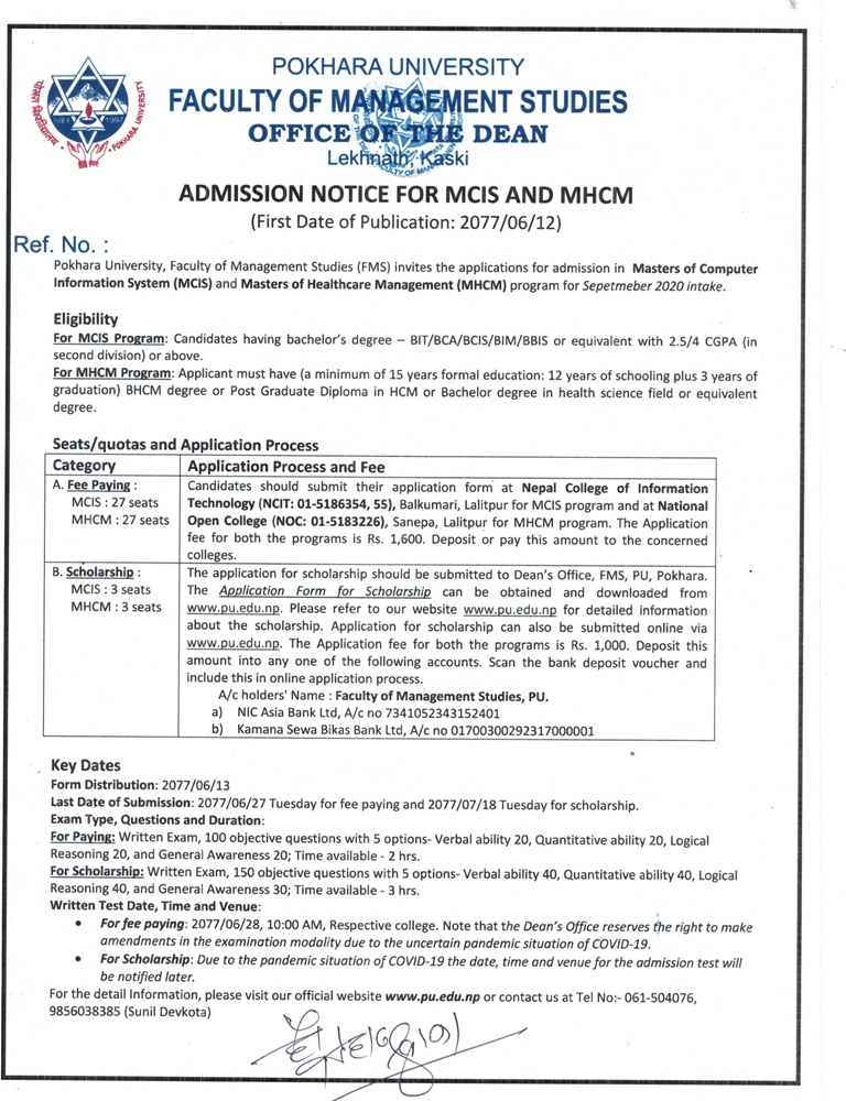 Master in Health Care Management entrance exam notice