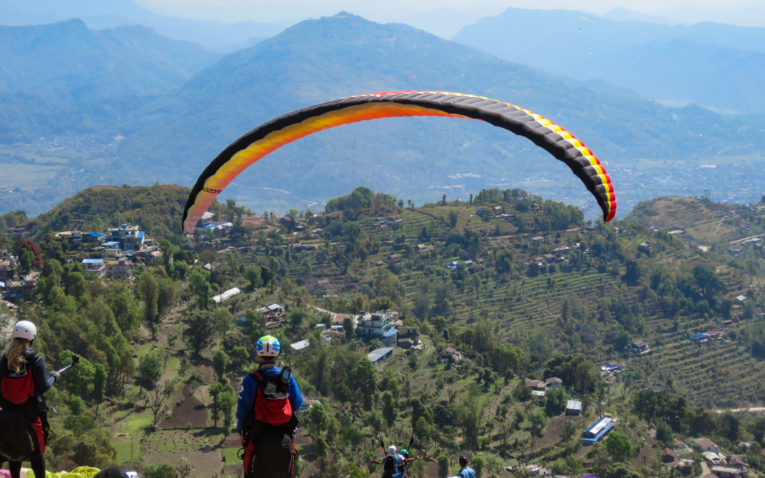 Paragliding starting point of sarangkot from here paragliding starts